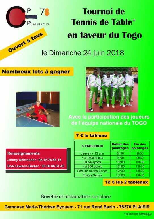 Tournoi De Tennis De Table En Faveur Du Togo Comite 78 Tennis De Table